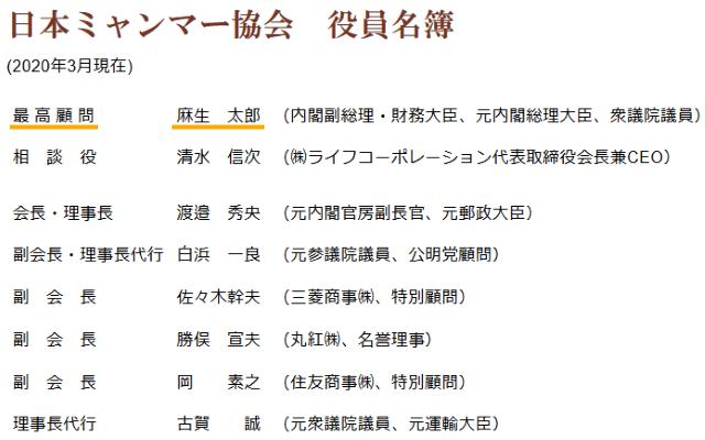 日本ミャンマー協会の最高顧問は麻生太郎