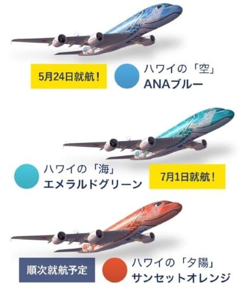 用意周到に3デザインが準備されたANA A380 空飛ぶウミガメ